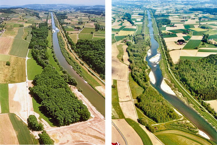 The river Thur at Niederneunforn. Left panel just before restoration started (2002). Right panel after restoration in 2008. (© BHAteam, Frauenfeld).